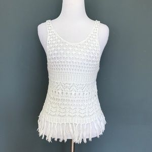 Abercrombie & Fitch White Fringe Tank Top - XS